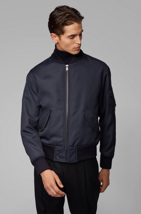 Regular-fit jacket in structured Italian canvas, Dark Blue