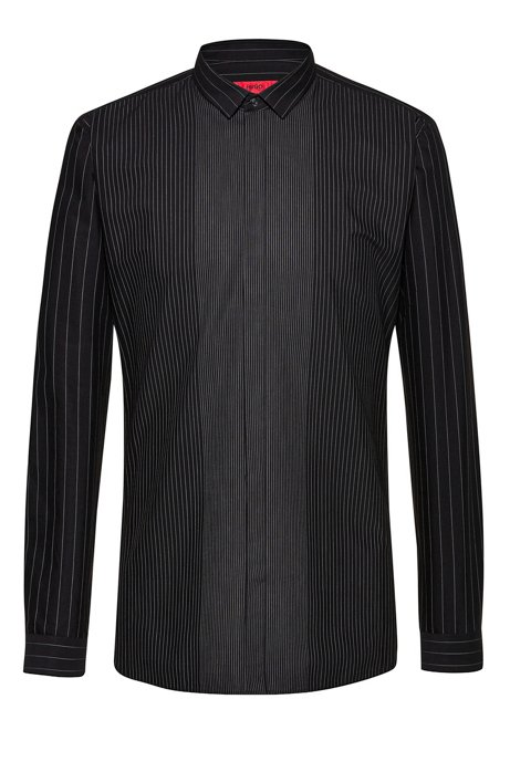 Extra-slim-fit cotton shirt with mixed stripes, Black