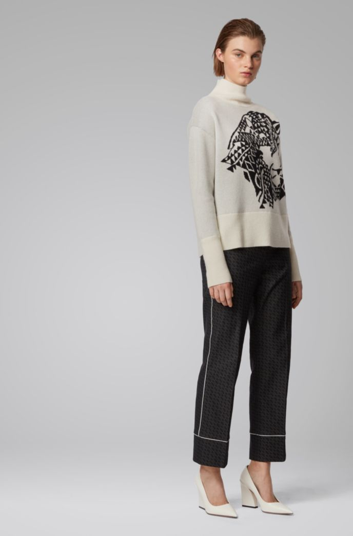 Relaxed-fit sweater in cashmere with jacquard pattern