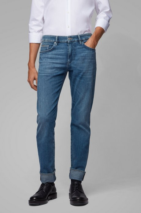 Slim-fit jeans in Italian cashmere-touch denim, Blue