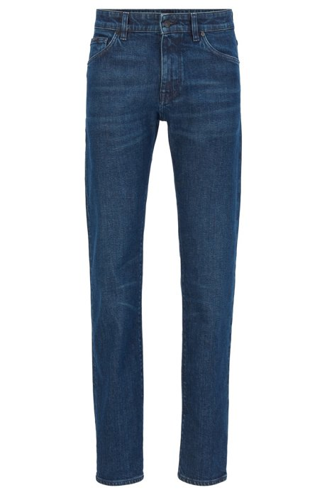 Regular-fit jeans in Italian ring-spun stretch denim, Dark Blue