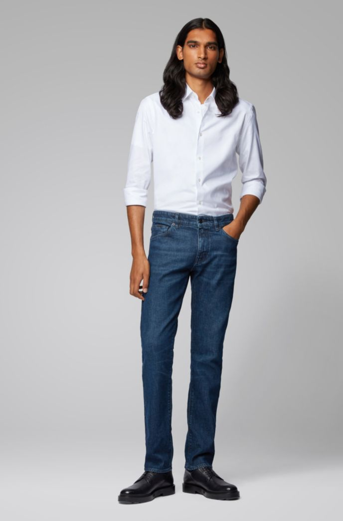 Regular-fit jeans in Italian ring-spun stretch denim