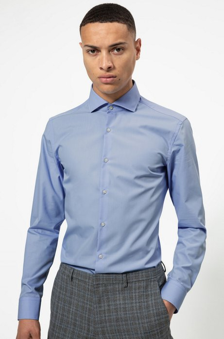 Slim-fit shirt with printed inner trims, Light Blue