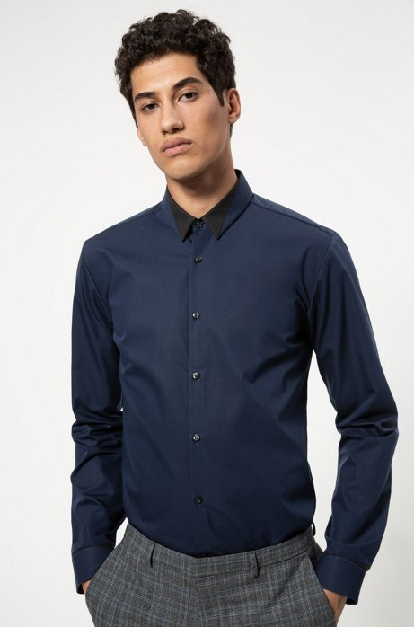 Extra-slim-fit cotton shirt with contrast details, Dark Blue