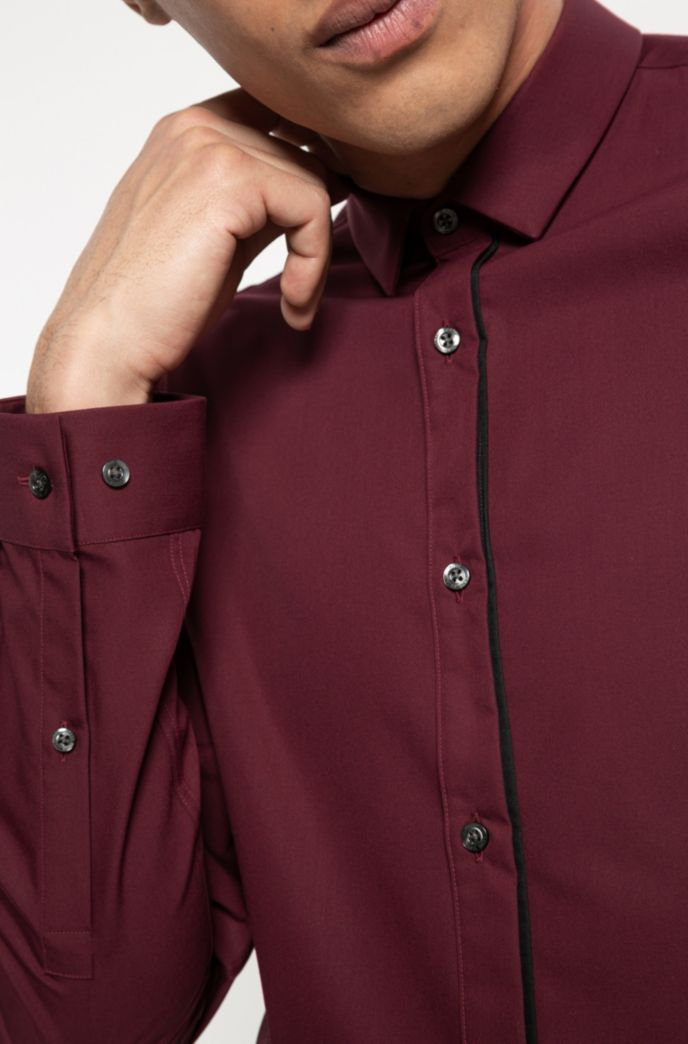 Extra-slim-fit cotton shirt with piped placket