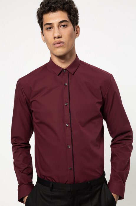 Extra-slim-fit cotton shirt with piped placket, Dark Red