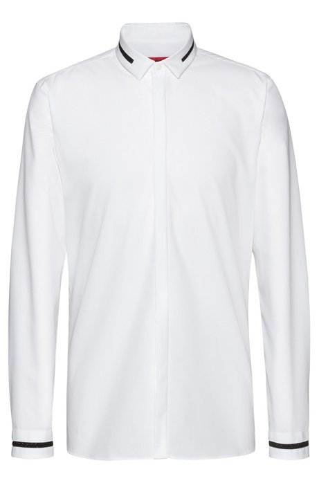 Extra-slim-fit cotton shirt with stardust tape details, Open White