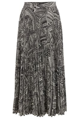 Midi-length plissé skirt with collection print, Patterned