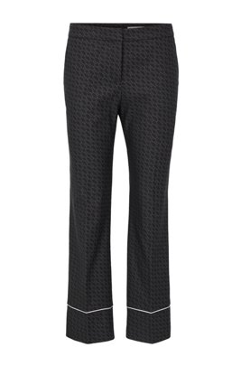 Relaxed-fit pants with all-over monogram pattern, Patterned