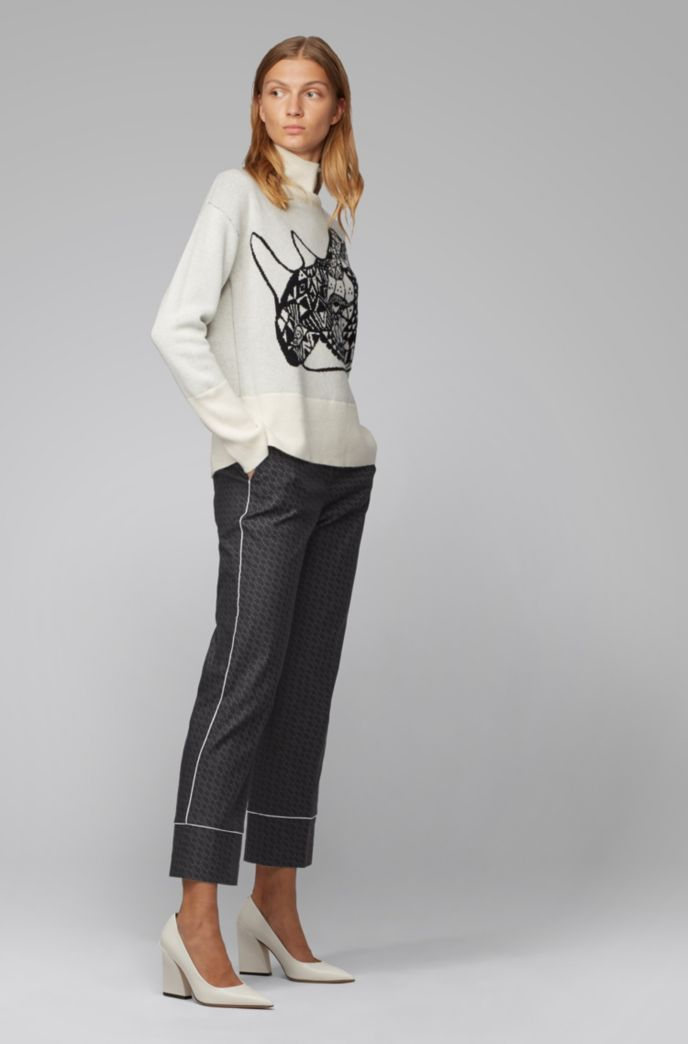 Relaxed-fit pants with all-over monogram pattern
