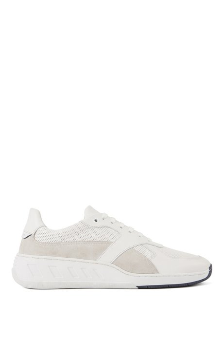 Running-style sneakers in mixed leathers, White
