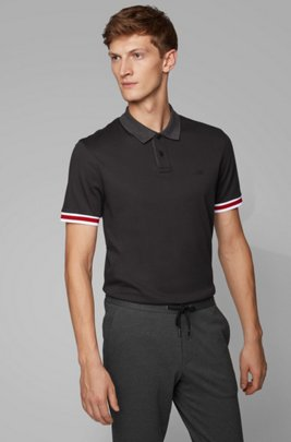 Regular-fit polo shirt with color-bock stripes, Black