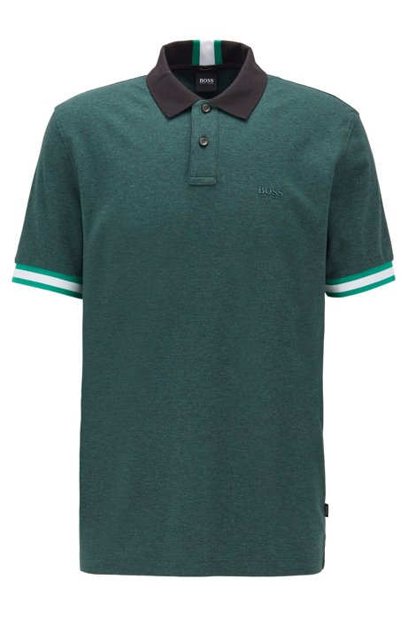 Regular-fit polo shirt with color-bock stripes, Open Green