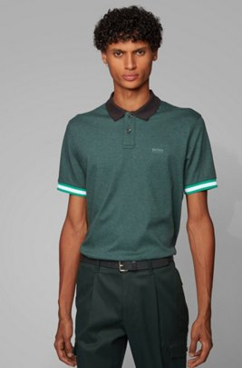 Regular-fit polo shirt with color-bock stripes, Light Green