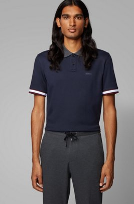 Regular-fit polo shirt with color-bock stripes, Dark Blue