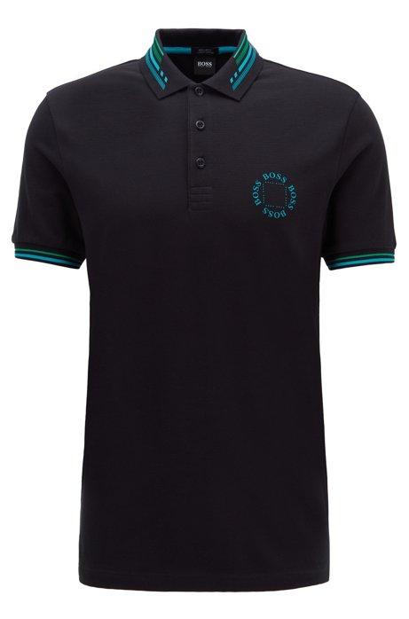 Cotton-piqué polo shirt with circular logo, Black