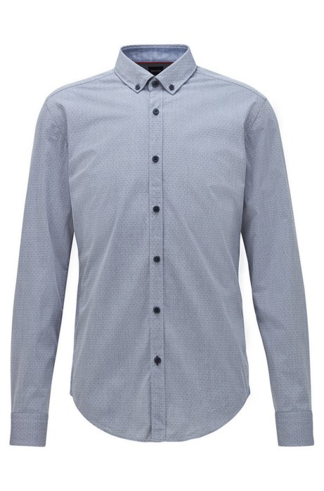 Slim-fit shirt in stretch-cotton dobby, Dark Blue
