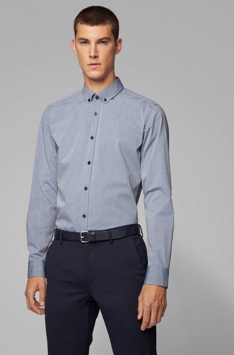 Slim-fit shirt in stretch-cotton dobby, Dark Blue