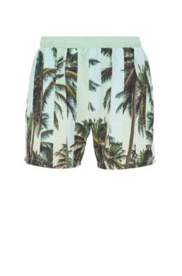 Quick-dry swim shorts with abstract photographic print, Open Green