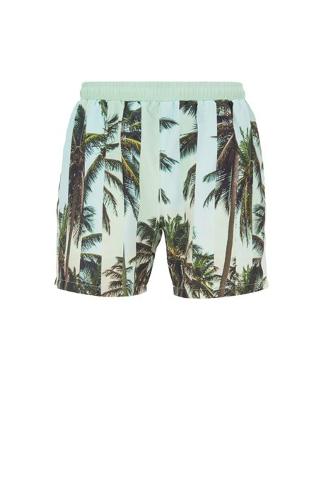 Quick-dry swim shorts with abstract photographic print, Light Green