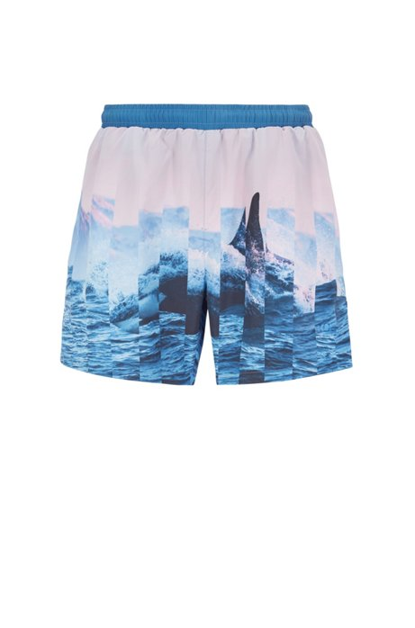Quick-dry swim shorts with abstract photographic print, Open Blue