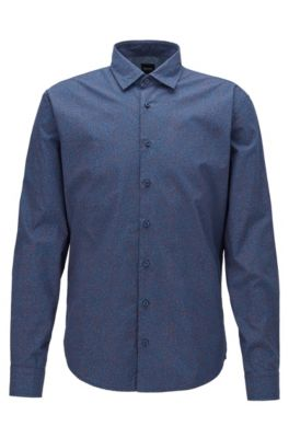 Slim-fit shirt in micro-patterned cotton, Dark Blue