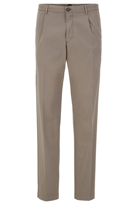 Regular-fit pants with pleated front in stretch gabardine, Open Grey