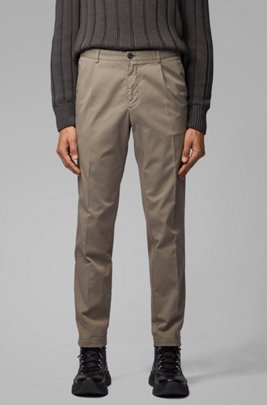 Regular-fit pants with pleated front in stretch gabardine, Light Grey