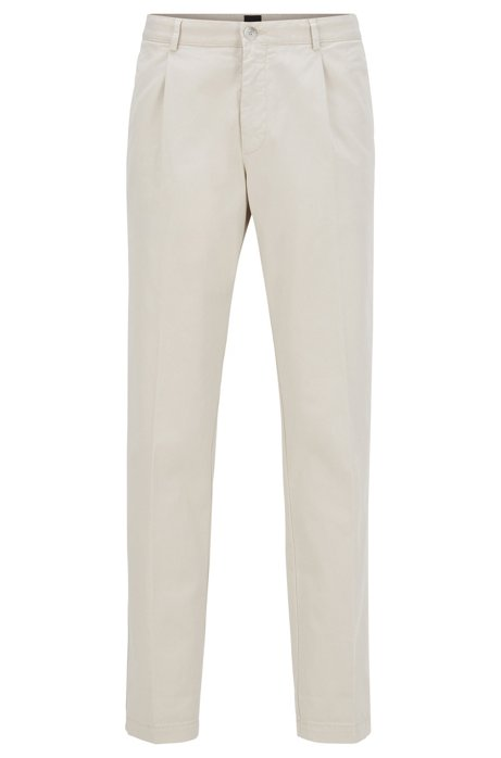 Regular-fit pants with pleated front in stretch gabardine, Natural
