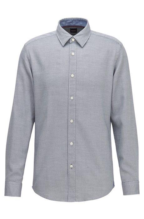 Regular-fit shirt in structured dobby cotton, Dark Blue