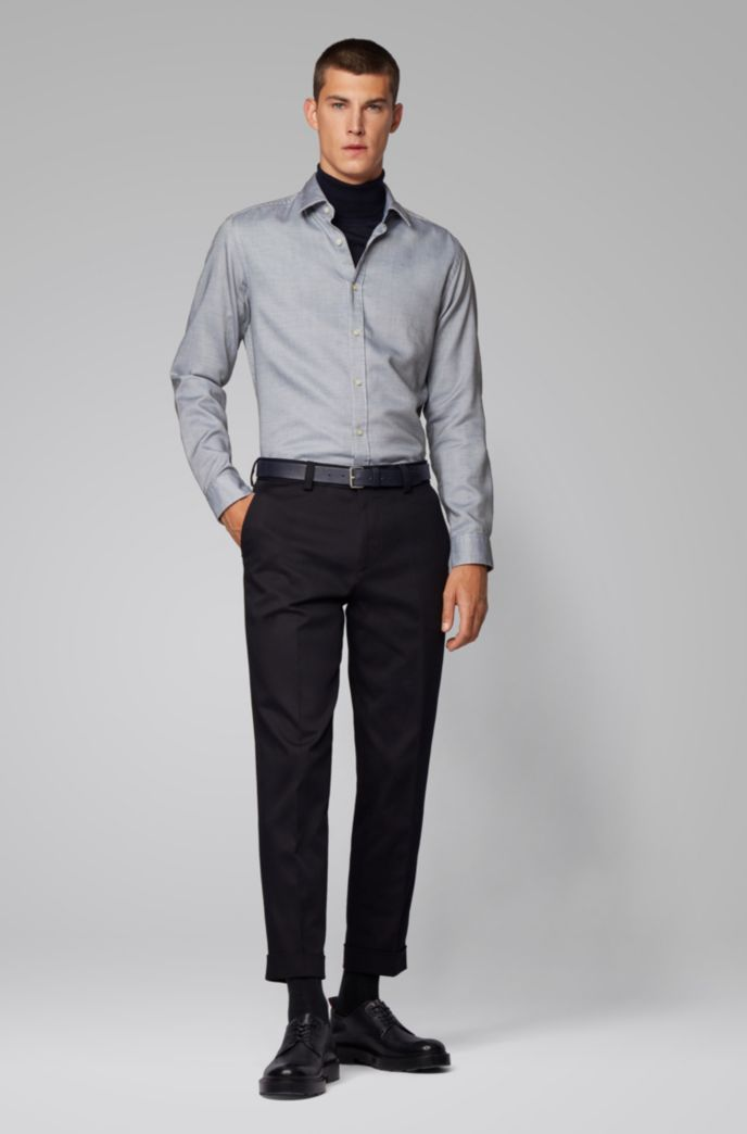 Regular-fit shirt in structured dobby cotton