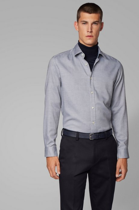 Regular-fit shirt in structured dobby cotton, Dark Blue