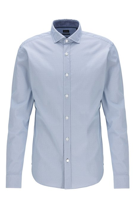 Slim-fit shirt in washed cotton with exclusive print, Light Blue