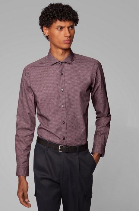 Slim-fit shirt in washed cotton with exclusive print, Red