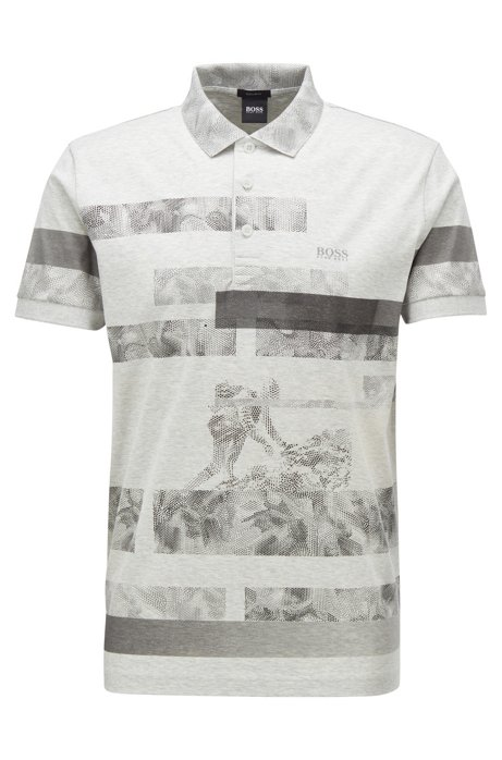 Regular-fit polo shirt with abstract pattern, Light Grey