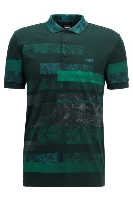 Regular-fit polo shirt with abstract pattern, Open Green