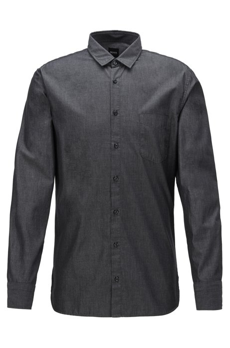 Slim-fit shirt in cotton with rounded cuffs, Black