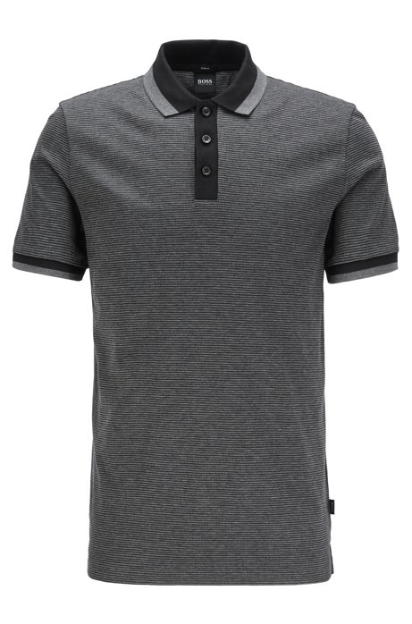 Slim-fit polo shirt in mercerized cotton, Black