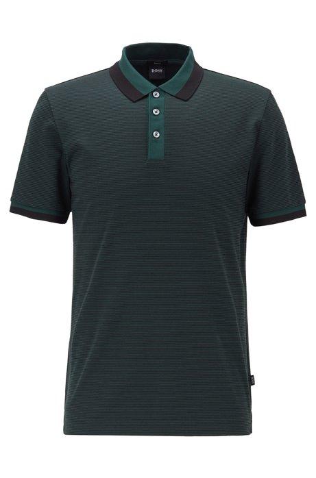 Slim-fit polo shirt in mercerized cotton, Open Green