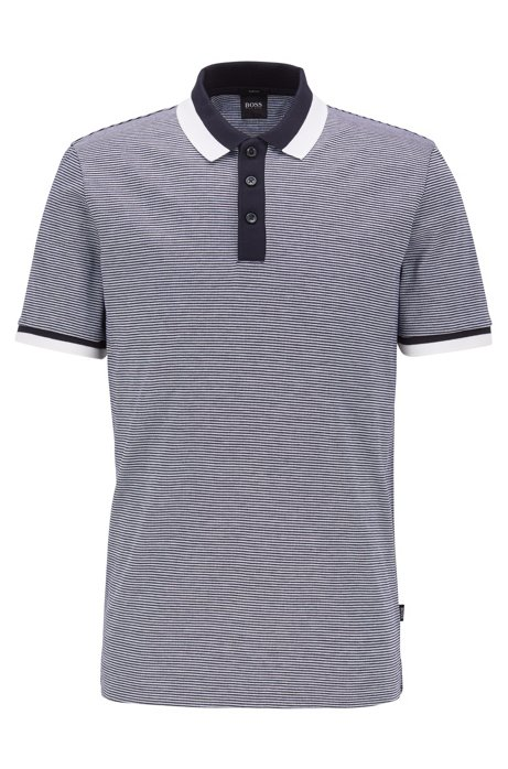 Slim-fit polo shirt in mercerized cotton, Dark Blue
