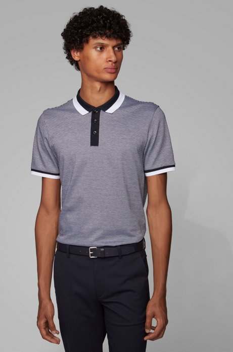 Slim-fit polo shirt in mercerized cotton, Dark Blue
