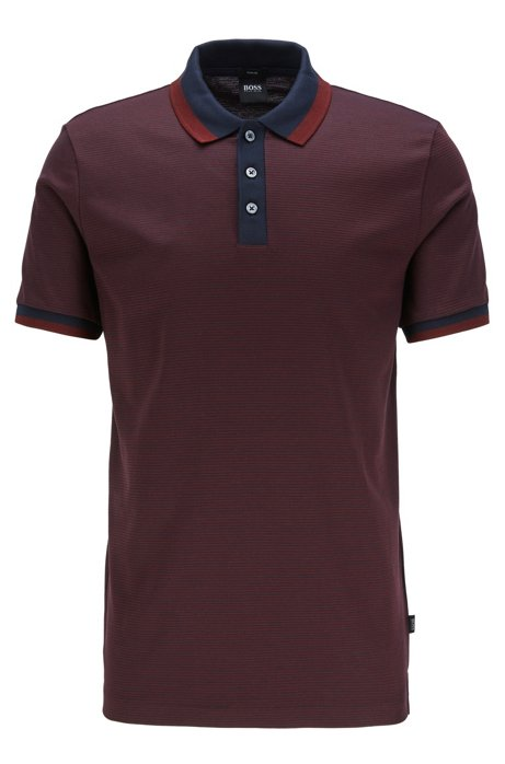Slim-fit polo shirt in mercerized cotton, Dark Red