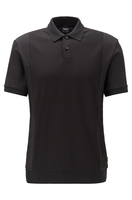 Regular-fit polo shirt with structured front, Black