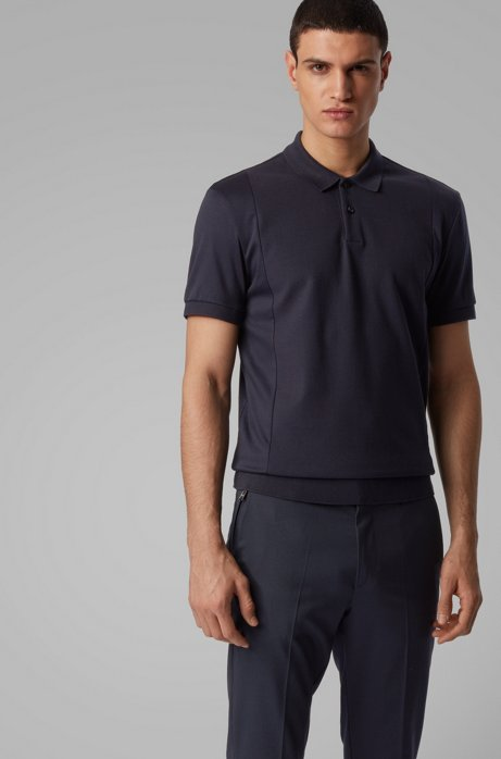 Regular-fit polo shirt with structured front, Dark Blue