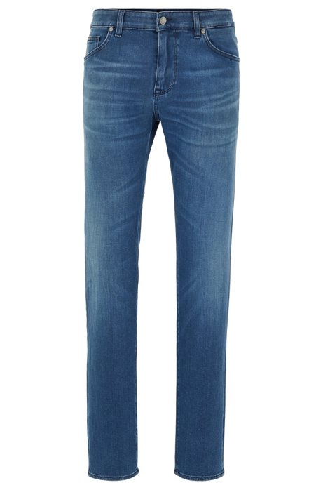Regular-fit jeans in mid-blue Italian stretch denim, Blue