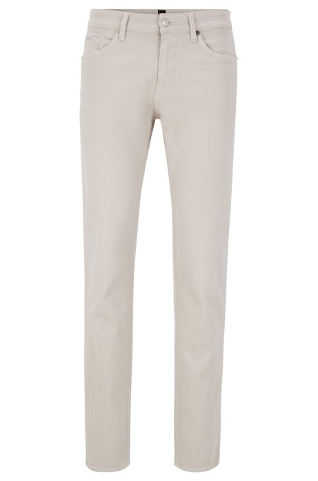 Slim-fit jeans in Italian cashmere-touch denim, Natural