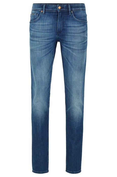 Extra-slim-fit jeans in mid-blue stretch denim, Blue