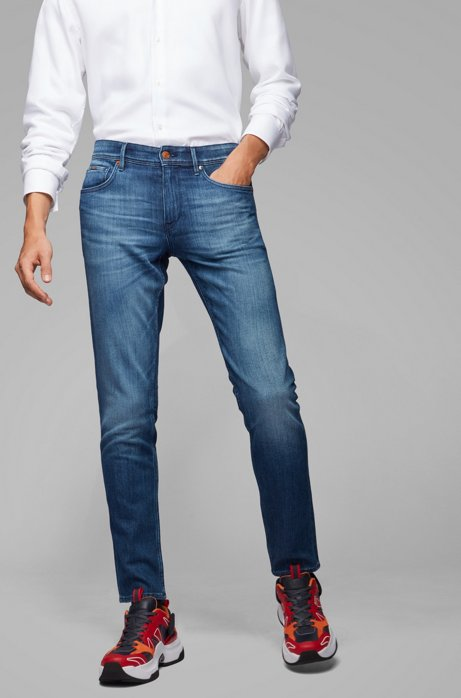 Extra-slim-fit jeans in mid-blue stretch denim, Blue