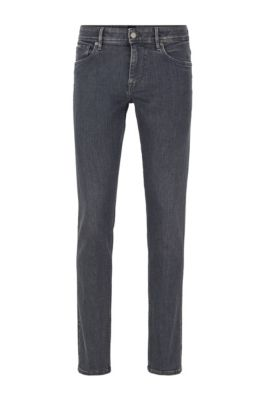 Extra-slim-fit gray jeans in Italian stretch denim, Dark Grey