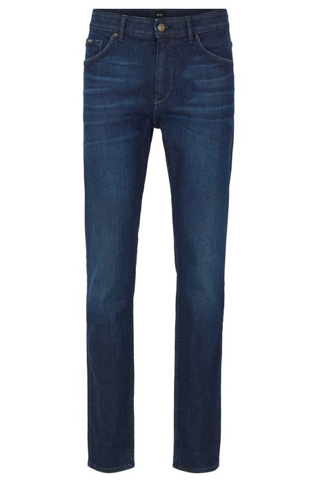 Tapered-fit jeans in dark-blue Italian stretch denim, Dark Blue